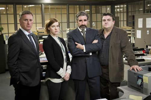 DCI Matthew Eastwood (Stuart Graham), PC Dani Ferrington (Niamh McGrady), ACC Jim Burns (John Lynch) and DCI Jerry McElroy (Simon Delaney).