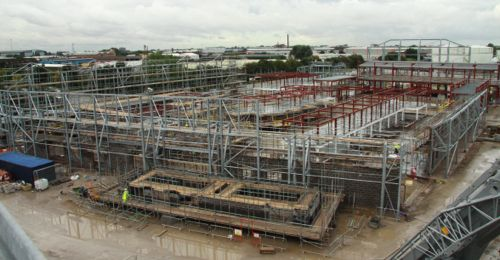 Sept 3 2012: The Medical Centre and Bonded Warehouse join the Street structures.