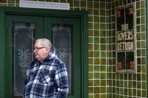 Tony Warren outside the Rovers Return at Trafford Wharf.
