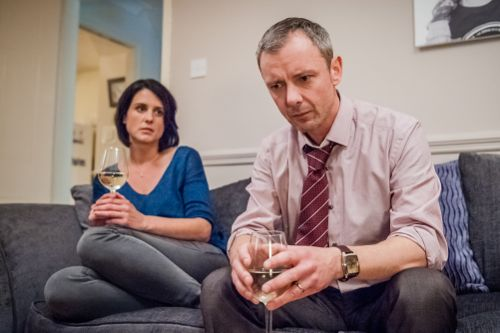 Heather Peace and John Simm as Abi and Marcus Farrow.