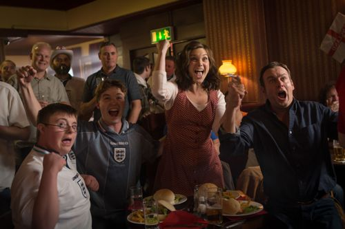 Liz White as Joanne with her screen sons in the pub plus Philip Glenister as Daniel.