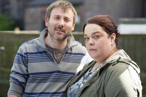 Graeme Hawley as Ken and Lisa Riley as Moira.