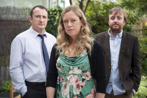 Blind: Terry (NEIL FITZMAURICE), Jenny (ANNA CRILLY), Daniel (CHRIS McCAUSLAND).