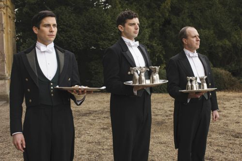 Thomas (Rob James-Collier), Andy (Michael Fox) and Molesley (Kevin Doyle).