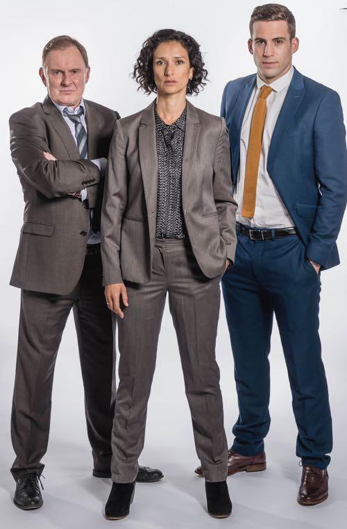 Robert Glenister (Bobby Day), Indira Varma (Nina Suresh) and Dino Fetscher (Alec Wayfield).